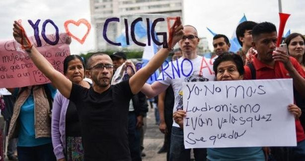 Supporters of CICIG demonstrate in Guatemala Sept 2018