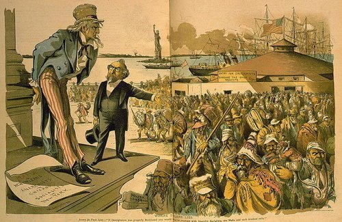 old-time immgiration political cartoon