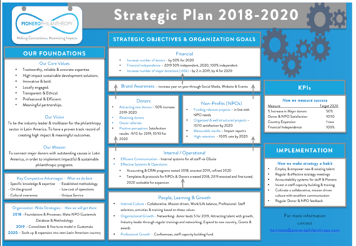 Pionero Philanthropy Strategic Plan 2018-2020
