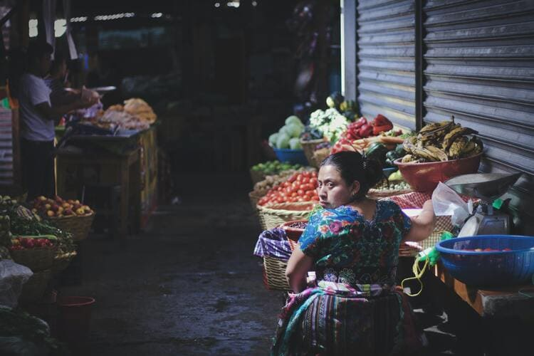 Mayan woman selling produce in the market